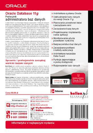 Tył okładki książki/ebooka Oracle Database 11g. Podręcznik administratora baz danych