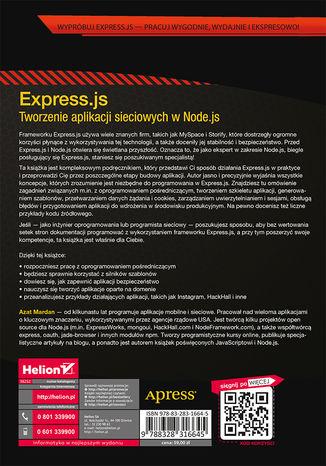 Tył okładki książki/ebooka Express.js. Tworzenie aplikacji sieciowych w Node.js