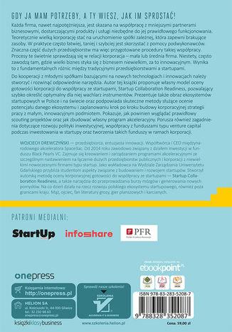 Tył okładki książki/ebooka Korpostartup. Efektywna współpraca korporacji ze startupami
