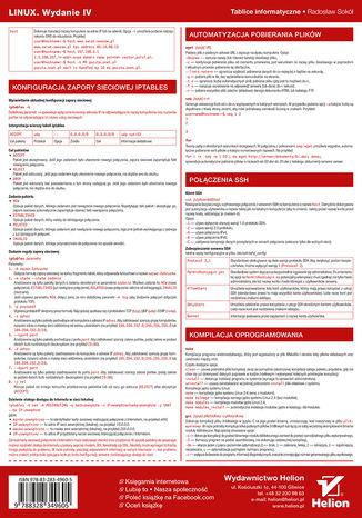 Tył okładki książki/ebooka Tablice informatyczne. Linux. Wydanie IV