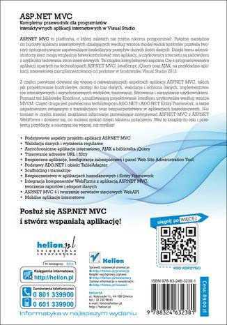 Tył okładki książki/ebooka ASP.NET MVC. Kompletny przewodnik dla programistów interaktywnych aplikacji internetowych w Visual Studio