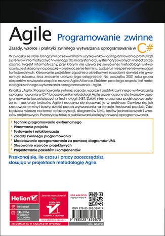Tył okładki książki/ebooka Agile. Programowanie zwinne: zasady, wzorce i praktyki zwinnego wytwarzania oprogramowania w C#