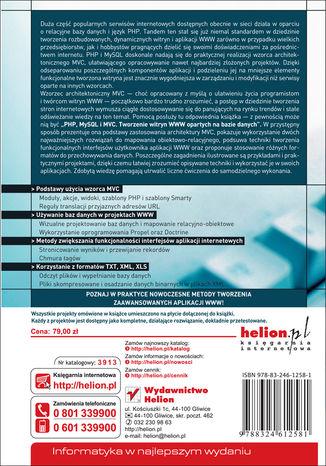 Tył okładki książki/ebooka PHP, MySQL i MVC. Tworzenie witryn WWW opartych na bazie danych