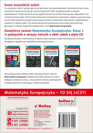 Tył okładki książki/ebooka Matematyka Europejczyka. Zbiór zadań dla gimnazjum. Klasa 1
