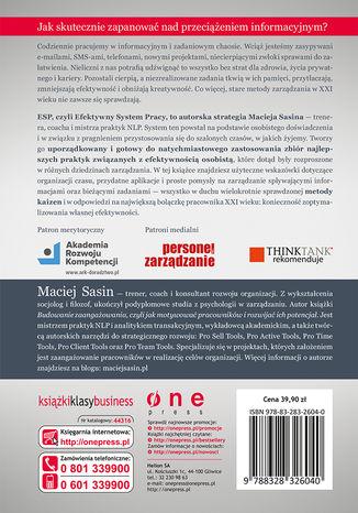 Tył okładki książki/ebooka Efektywny System Pracy, czyli jak skutecznie zarządzać sobą w czasie