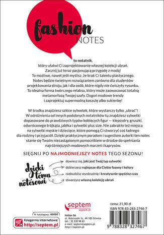 Tył okładki książki/ebooka Fashion notes