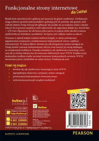 Tył okładki książki Nie każ mi myśleć! O życiowym podejściu do funkcjonalności stron internetowych. Wydanie III