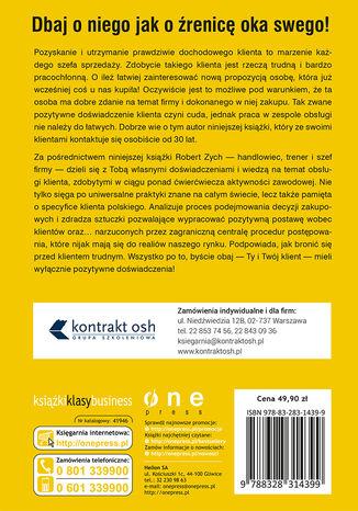Tył okładki książki Klient w centrum uwagi. Jak szefowie mogą budować pozytywne doświadczenie w zespołach obsługi