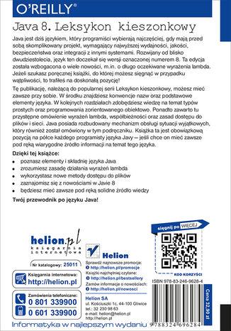 Tył okładki książki/ebooka Java 8. Leksykon kieszonkowy