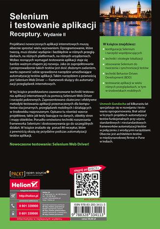Tył okładki książki/ebooka Selenium i testowanie aplikacji. Receptury. Wydanie II