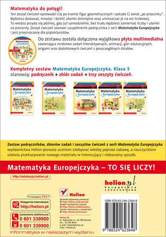 Tył okładki książki/ebooka Matematyka Europejczyka. Zeszyt ćwiczeń dla szkoły podstawowej. Klasa 5. Część 2