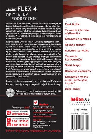 Tył okładki książki/ebooka Adobe Flex 4. Oficjalny podręcznik