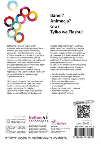 Tył okładki książki/ebooka Adobe Flash CS6 i ActionScript 3.0. Interaktywne projekty od podstaw