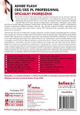 Tył okładki książki/ebooka Adobe Flash CS5/CS5 PL Professional. Oficjalny podręcznik