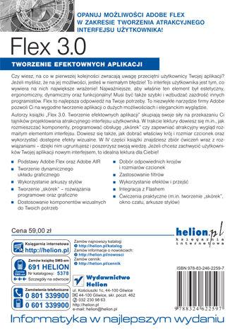 Tył okładki książki/ebooka Flex 3.0. Tworzenie efektownych aplikacji