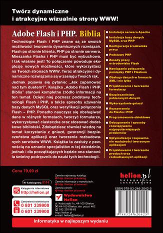 Tył okładki książki/ebooka Adobe Flash i PHP. Biblia