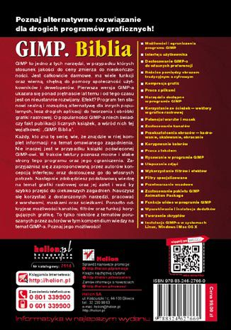 Tył okładki książki/ebooka GIMP Biblia