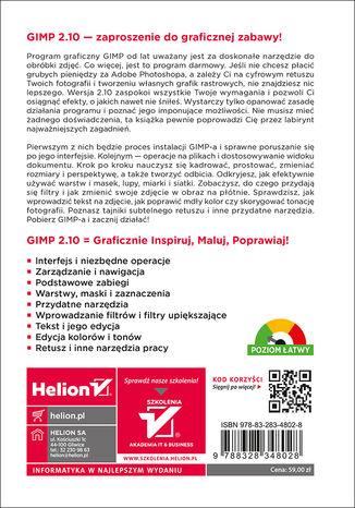 Tył okładki książki/ebooka GIMP. Poznaj świat grafiki komputerowej