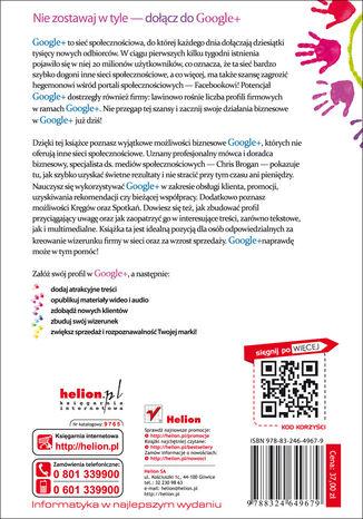 Tył okładki książki/ebooka Google+ dla biznesu