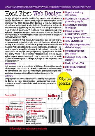 Tył okładki książki/ebooka Head First Web Design. Edycja polska