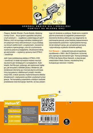 Tył okładki książki/ebooka HTML5. Tworzenie gier z wykorzystaniem CSS i JavaScript