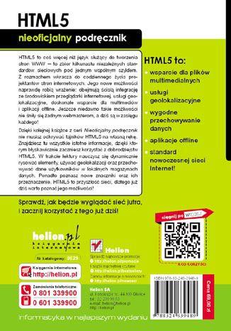Tył okładki książki/ebooka HTML5. Nieoficjalny podręcznik