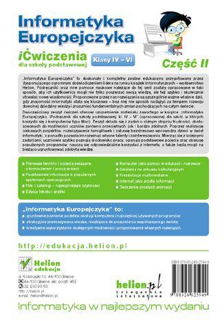 Tył okładki książki/ebooka Informatyka Europejczyka. iĆwiczenia dla szkoły podstawowej, kl. IV-VI. Część II