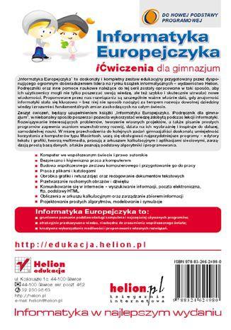 Tył okładki książki/ebooka Informatyka Europejczyka. iĆwiczenia dla gimnazjum