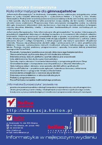 Tył okładki książki/ebooka Informatyka Europejczyka. Koło informatyczne dla gimnazjalistów