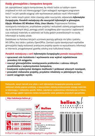 Tył okładki książki/ebooka Informatyka Europejczyka. Poradnik metodyczny dla nauczycieli informatyki w gimnazjum. Edycja: Windows XP, Windows Vista, Linux Ubuntu (wydanie IV)