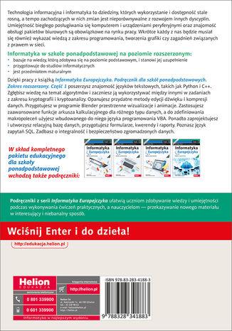 Tył okładki książki/ebooka Informatyka Europejczyka. Podręcznik dla szkół ponadpodstawowych. Zakres rozszerzony. Część 1
