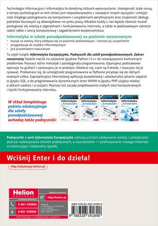 Tył okładki książki/ebooka Informatyka Europejczyka. Podręcznik dla szkół ponadpodstawowych. Zakres rozszerzony. Część 2