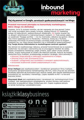 Tył okładki książki/ebooka Inbound Marketing. Daj się poznać w Google, serwisach społecznościowych i na blogu