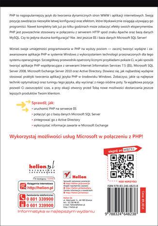 Tył okładki książki/ebooka Integracja PHP z Windows