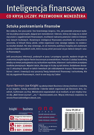 Tył okładki książki/ebooka Inteligencja finansowa. Co kryją liczby. Przewodnik menedżera. Wydanie II