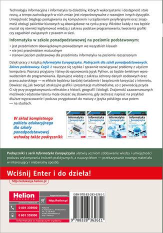 Tył okładki książki/ebooka Informatyka Europejczyka. Podręcznik dla szkół ponadpodstawowych. Zakres podstawowy. Część 1
