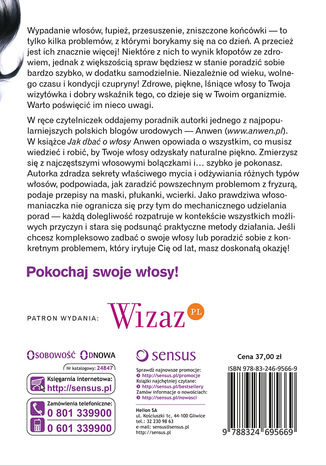Tył okładki książki/ebooka Jak dbać o włosy. Poradnik dla początkującej włosomaniaczki