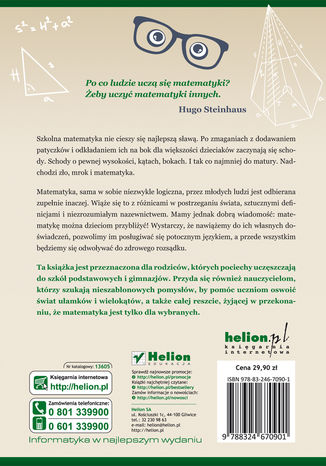 Tył okładki książki/ebooka Jak tłumaczyć dzieciom matematykę. Poradnik nie tylko dla rodziców