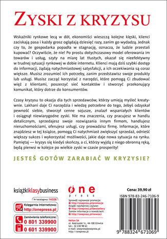 Tył okładki książki/ebooka Jak sprzedawać, gdy nikt nie kupuje. I jak sprzedawać więcej, kiedy już zaczną