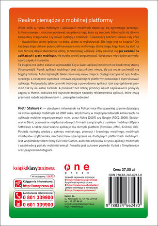 Tył okładki książki/ebooka Jak zarabiać na aplikacjach i grach mobilnych