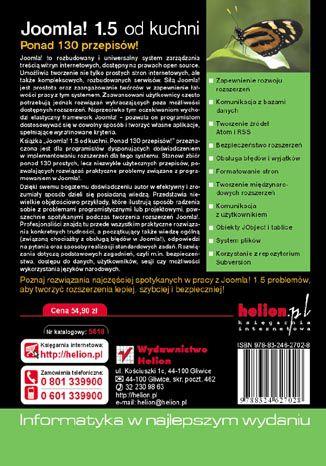 Tył okładki książki/ebooka Joomla! 1.5 od kuchni. Ponad 130 przepisów!