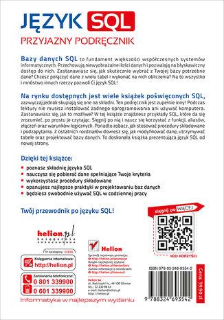 Tył okładki książki/ebooka Język SQL. Przyjazny podręcznik