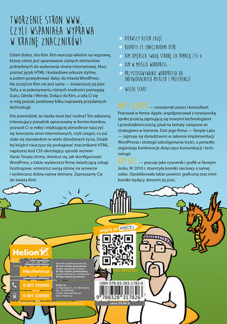 Tył okładki książki/ebooka Stwórz swoją własną stronę WWW. Komiksowy kurs HTML-a, CSS-a i WordPressa