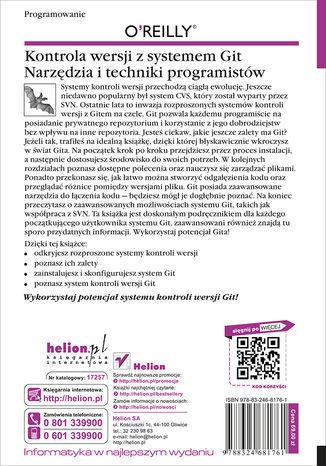 Tył okładki książki/ebooka Kontrola wersji z systemem Git. Narzędzia i techniki programistów. Wydanie II