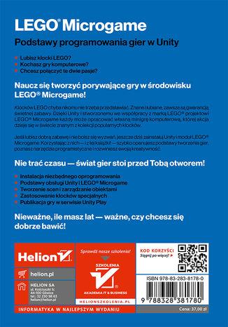 Tył okładki książki/ebooka LEGO  Microgame. Podstawy programowania gier w Unity
