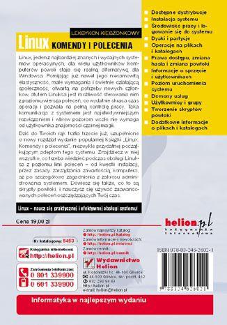 Tył okładki książki/ebooka Linux. Komendy i polecenia. Wydanie III