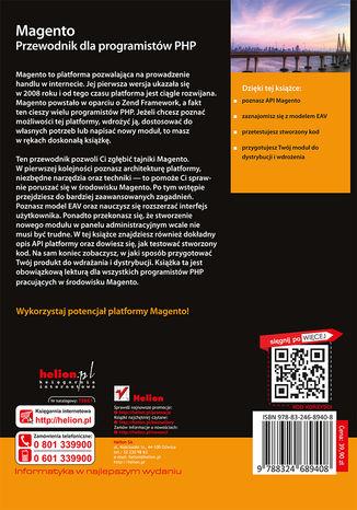 Tył okładki książki/ebooka Magento. Przewodnik dla programistów PHP