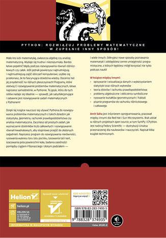 Tył okładki książki/ebooka Matematyka w Pythonie. Algebra, statystyka, analiza matematyczna i inne dziedziny