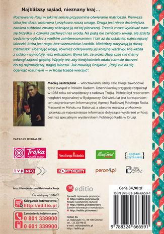 Tył okładki książki/ebooka Matrioszka Rosja i Jastrząb