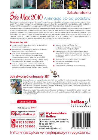 Tył okładki książki/ebooka 3ds max 2010. Animacja 3D od podstaw. Szkoła efektu